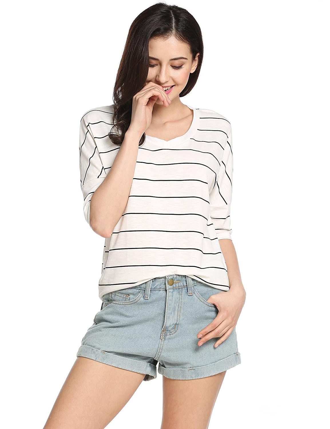 Soteer Women Black and White Striped Half Sleeve T-shirt Tops Slim Fit Stripes Tee S-XXL