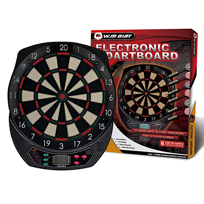 WIN.MAX Electronic Dart Board, Soft Tip Dartboard Set LCD Display with 6 Darts, 40 Tips, Power Adapter - The Dart Board With Many Features