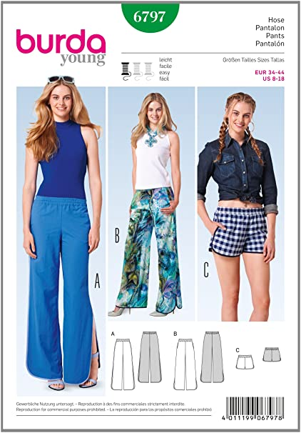 Amazon.com: Burda Young, sewing pattern, 6797 pull on trousers ...