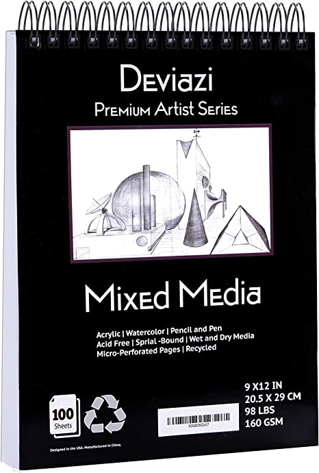 Amazon.com: Deviazi Mixed Media Sketchbook 100-Sheets Acrylic Art Pad,  Sketch Book, Watercolor Drawing Pad, Acid-Free Paper For Drawing Paper,  Painting, Sketching Spiral Bound Sketchbook Coloring Book: Arts, Crafts  &