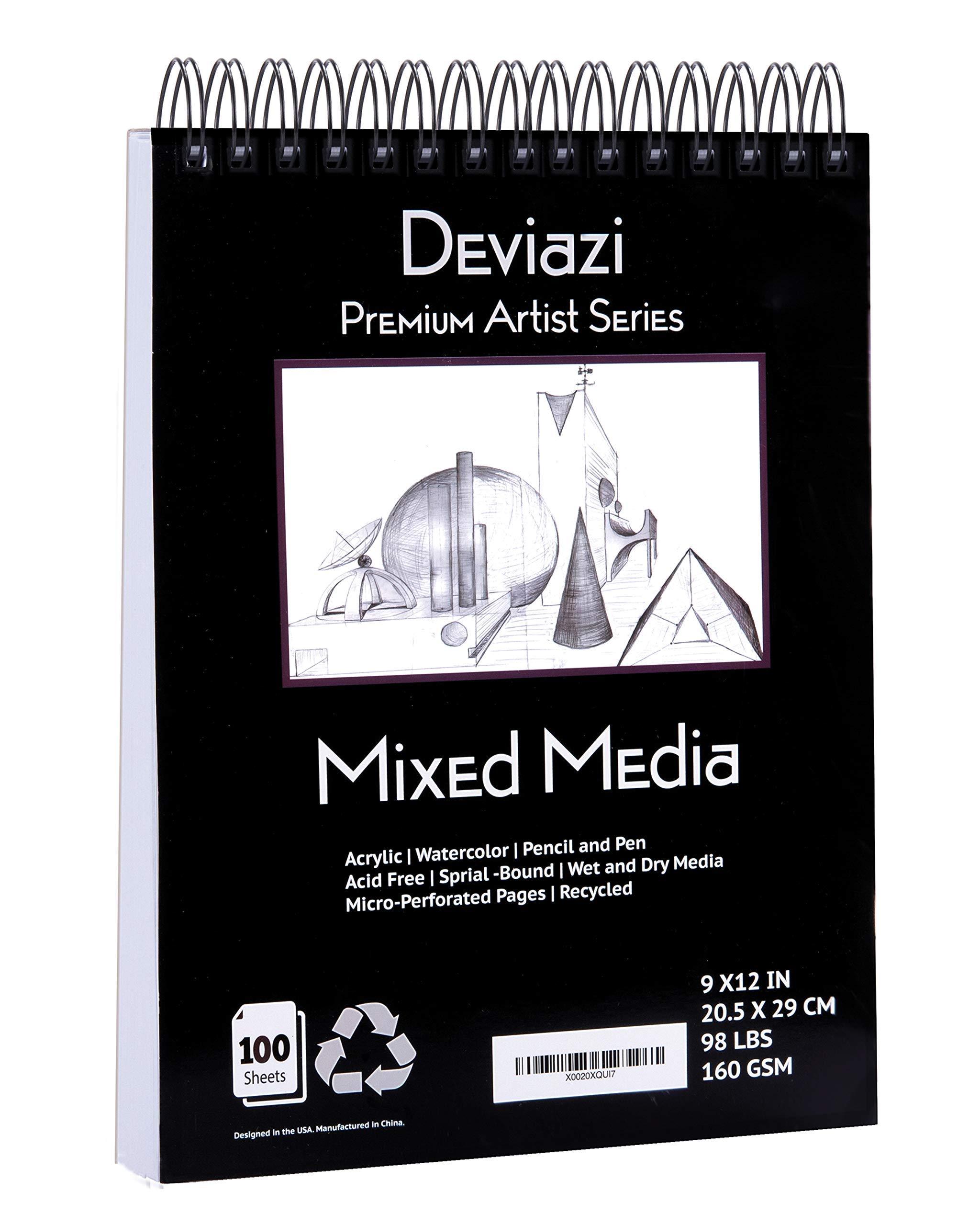 Deviazi Mixed Media Sketchbook 100-Sheets Acrylic Art Pad, Sketch Book, Watercolor   Drawing Pad, Acid-Free Paper for Drawing Paper, Painting, Sketching   Spiral Bound Sketchbook   Coloring Book by Deviazi
