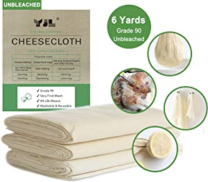 YJL Cheesecloth for Straining, 54 Sq Feet, 100% Cotton Grade 90 Unbleached Cheesecloth, Fine Cheesecloth | 6 Yards Cheese cloths for Cooking | Straining | Canning | Steaming and Reusable Cheesecloth