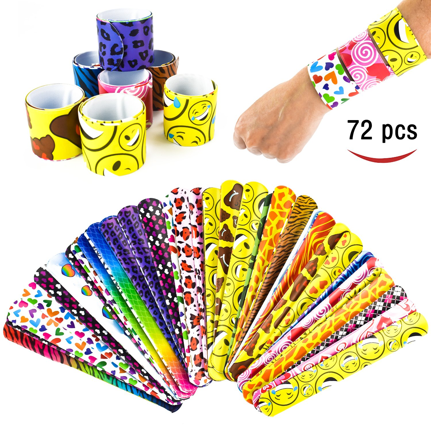 IAMGlobal 72 Pcs Slap Bracelets, Slap Bands, Party Favors Pack with Colorful Hearts, Emoji, Animal Prints For Birthday Party, School Classroom Rewards, For Boys and Girls (24 Designs)