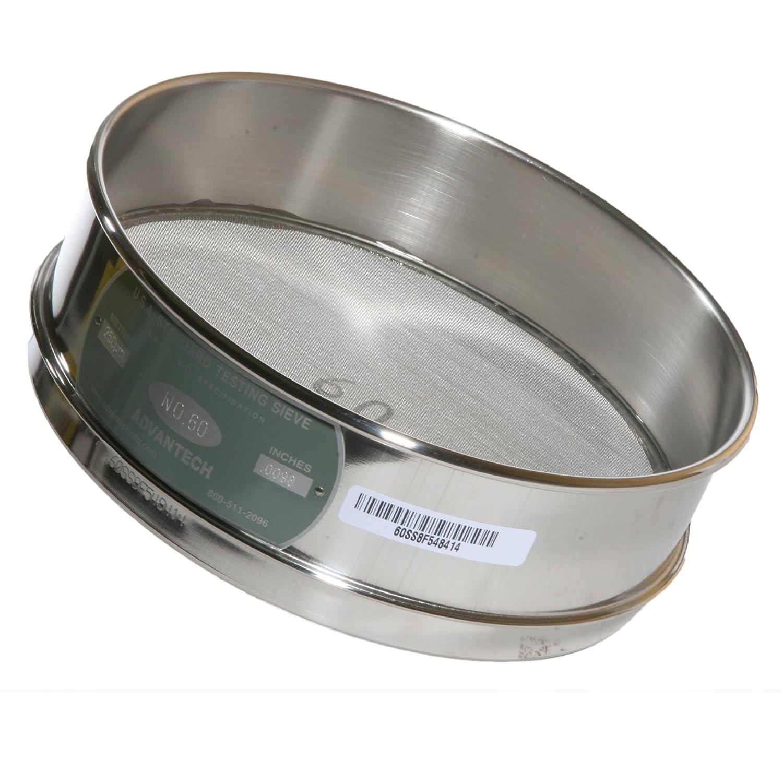 Advantech Stainless Steel Test Sieves 8 Diameter #60 Mesh Full Height