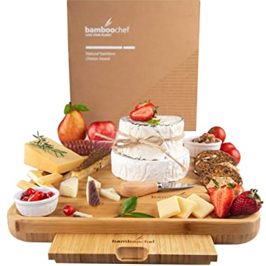 Bamboo Cheese Board with Cutlery Set | Unique Charcuterie Serving Platter for Wine, Cheese, Meat with Knife Set | Perfect Kitchen Gift Idea for Mom, Housewarming, Wedding Registry, Birthday, Hostess