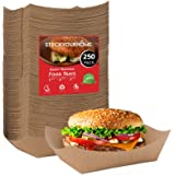 """Paper Food Boats (250 Pack) Disposable Brown Tray 3 Lb - Eco Friendly Brown Paper Food Trays 5"""" x 3"""" – Serving Boats for…"""