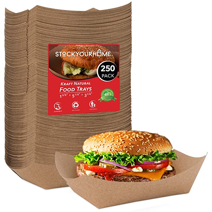 Paper Food Boats (250 Pack) Disposable Brown Tray 3 Lb - Eco Friendly Brown Paper Food Trays 5