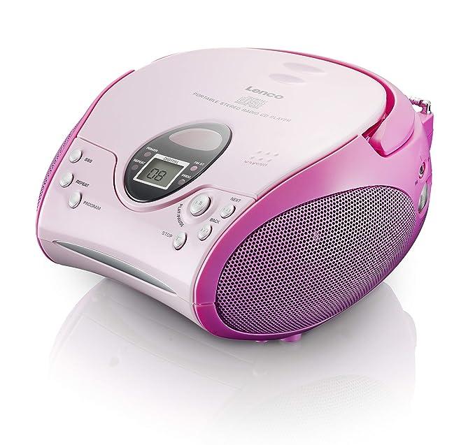 Lenco Radio CD-Player SCD-24 tragbares Stereo UKW-Radio mit CD-Player und Teleskopantenne in rosa