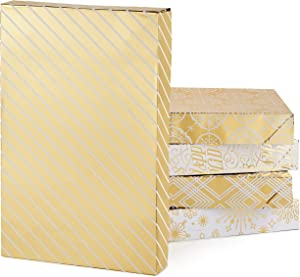 Hallmark Premium Christmas Gift Box Assortment - Pack of 5 Gold Patterned Shirt Boxes with Lids for Wrapping Holiday Gifts