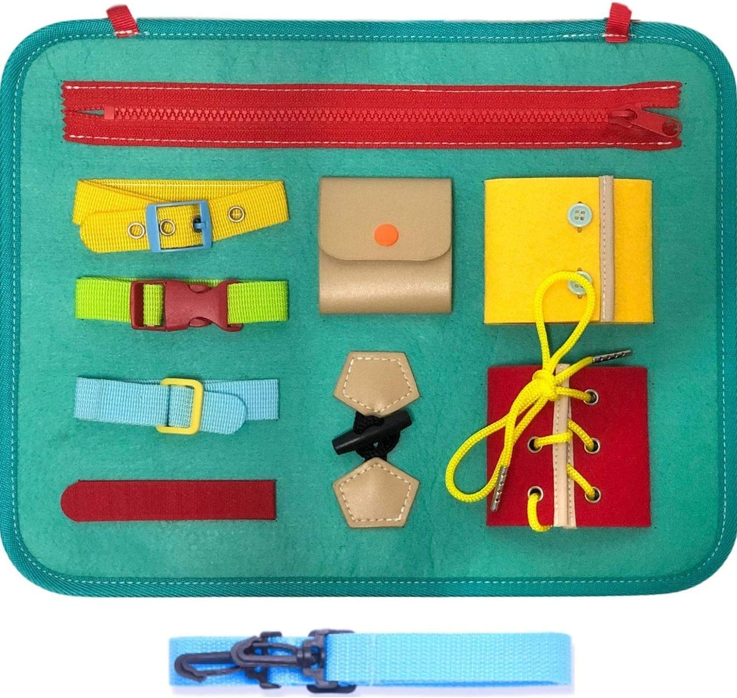 Educational Learning Toys Montessori Basic Skills Toddler Activity Board for Fine Motor Skills /& Learn to Dress FBve Busy Board for Toddlers