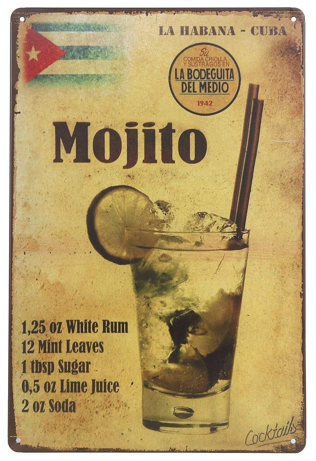 Forever_USA Tin Sign   Metal Wall Sign   Mojito Drink Recipe La Habana Cuba 8 x 12 in.   Cool Decorative Sign for Home Kitchen Bar Room Garage Decor   Vintage & Retro Style