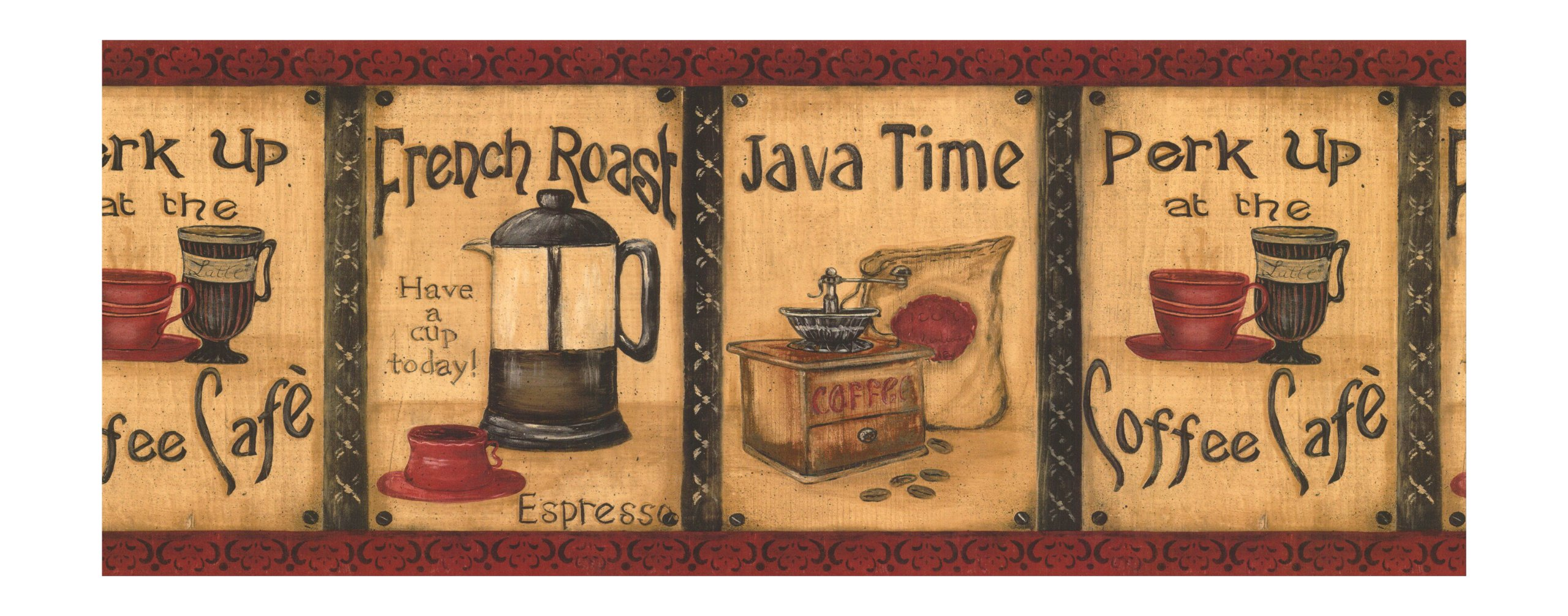 York Wallcoverings Best Of Country KG8838B Java Time Border, Mustard/Burgundy by York Wallcoverings