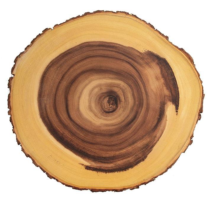 Villa Acacia 16 Inch Round Serving Tray, Real Wood Tree Bark, Rustic Wooden Platter