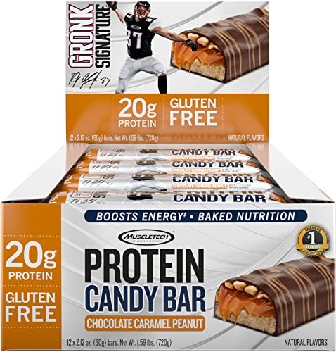 MuscleTech Gronk Signature Whey Protein Bar, 20g Protein, Nutrition for Sustained Energy, Naturally Flavored, Gluten Free, Chocolate Caramel Peanut, 12 Bars 12 x 60g