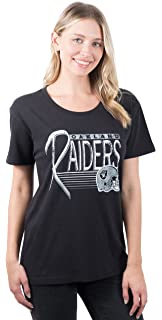 f9d8d45f06e84 ICER Brands NFL Oakland Raiders Women's T-Shirt Scoop Neck Short Sleeve Tee  Shirt,