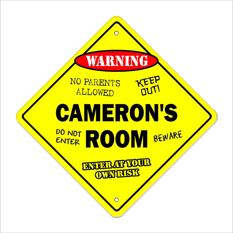 Camerons Room Sign Crossing Zone Xing Indoor//Outdoor 12 Tall Kids Bedroom Decor Door Childrens Name boy Girl