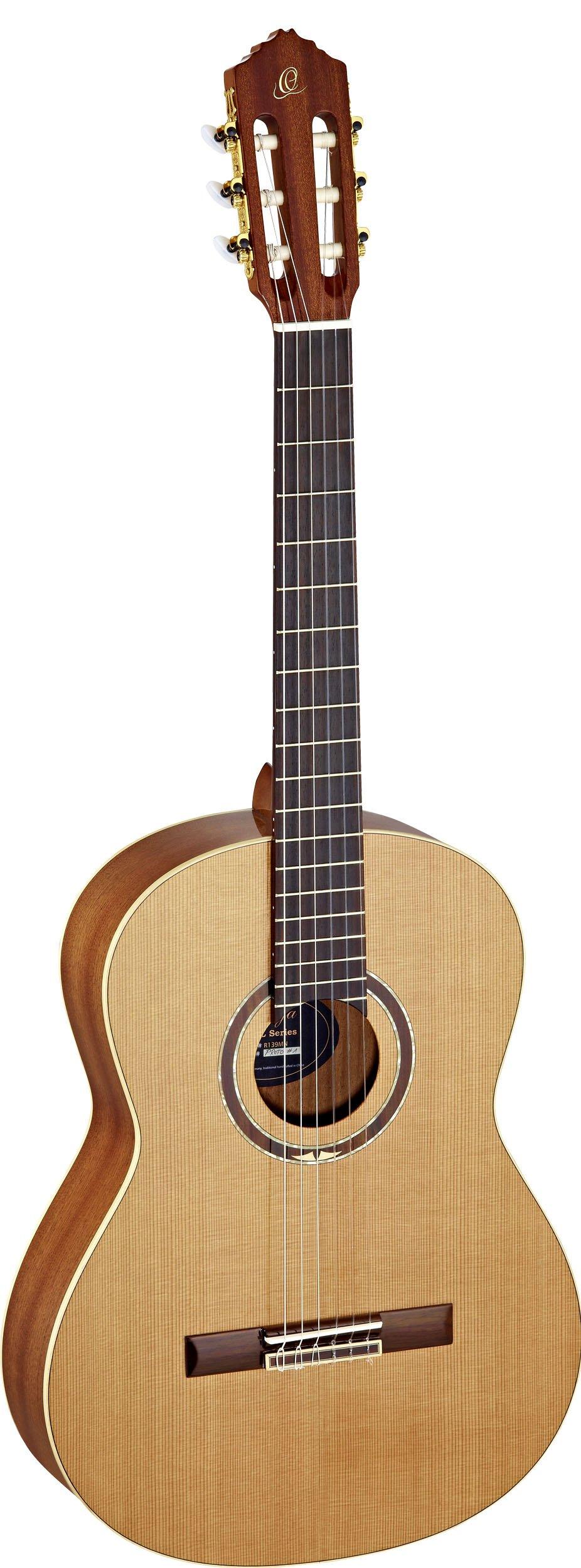 Ortega Guitars R139MN Feel Series Medium Neck Nylon 6-String Guitar with Cedar Top and Mahogany Body