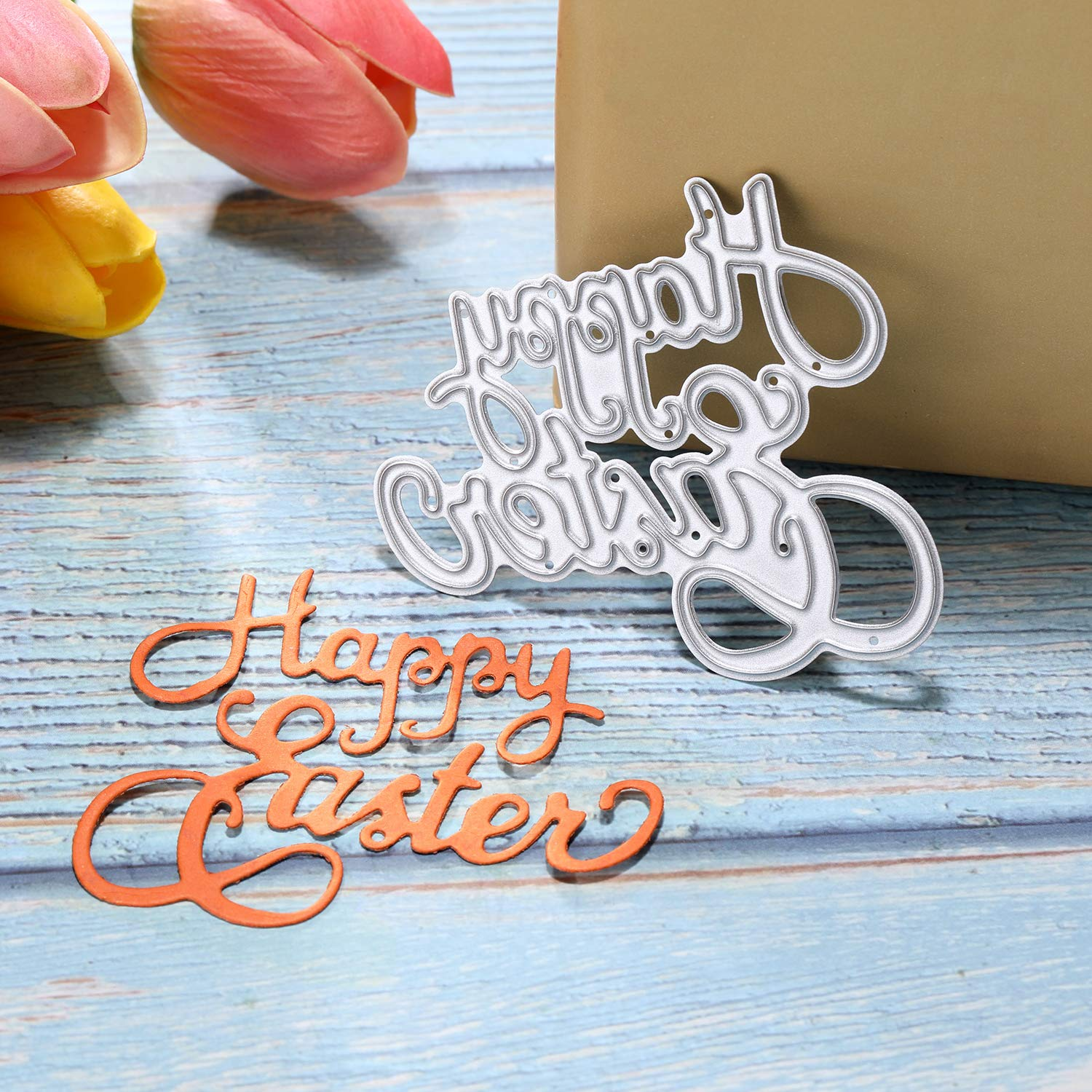 Tatuo Metal Cutting Dies Easter Eggs and Bunny Cutting Dies Stencil Happy Easter Letter Dies Cut Stencil for Scrapbooking DIY Cards Photos