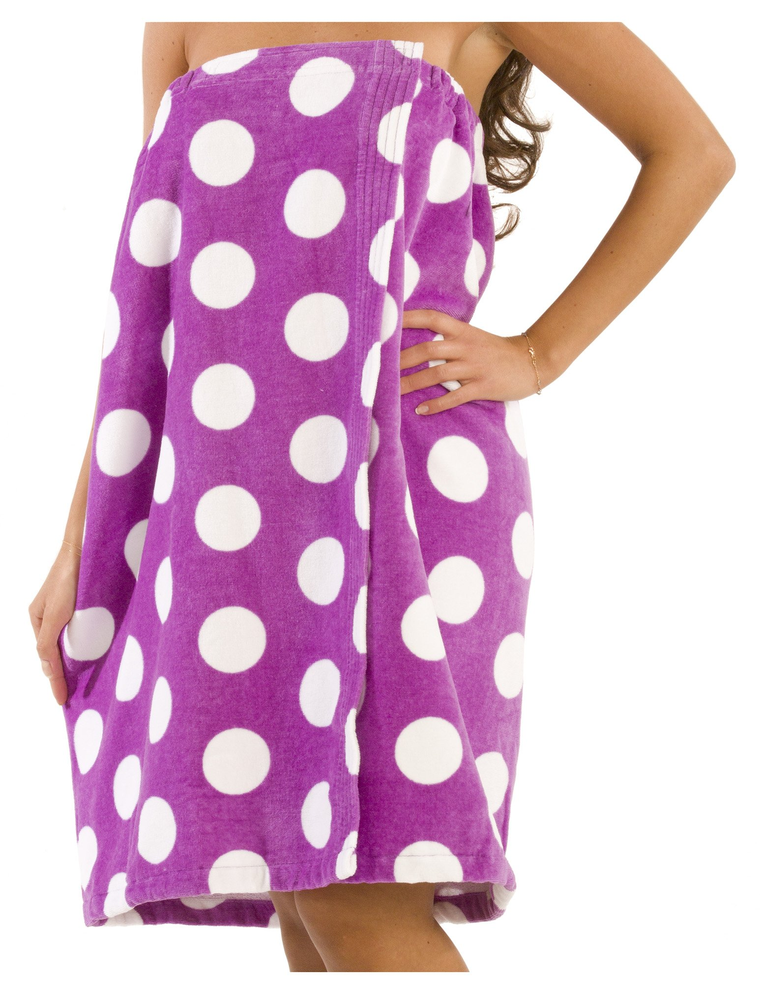 byLora Terry Cotton Spa Wrap Towel for Women Ladies Shower Cover Up, Purple - XXL Size