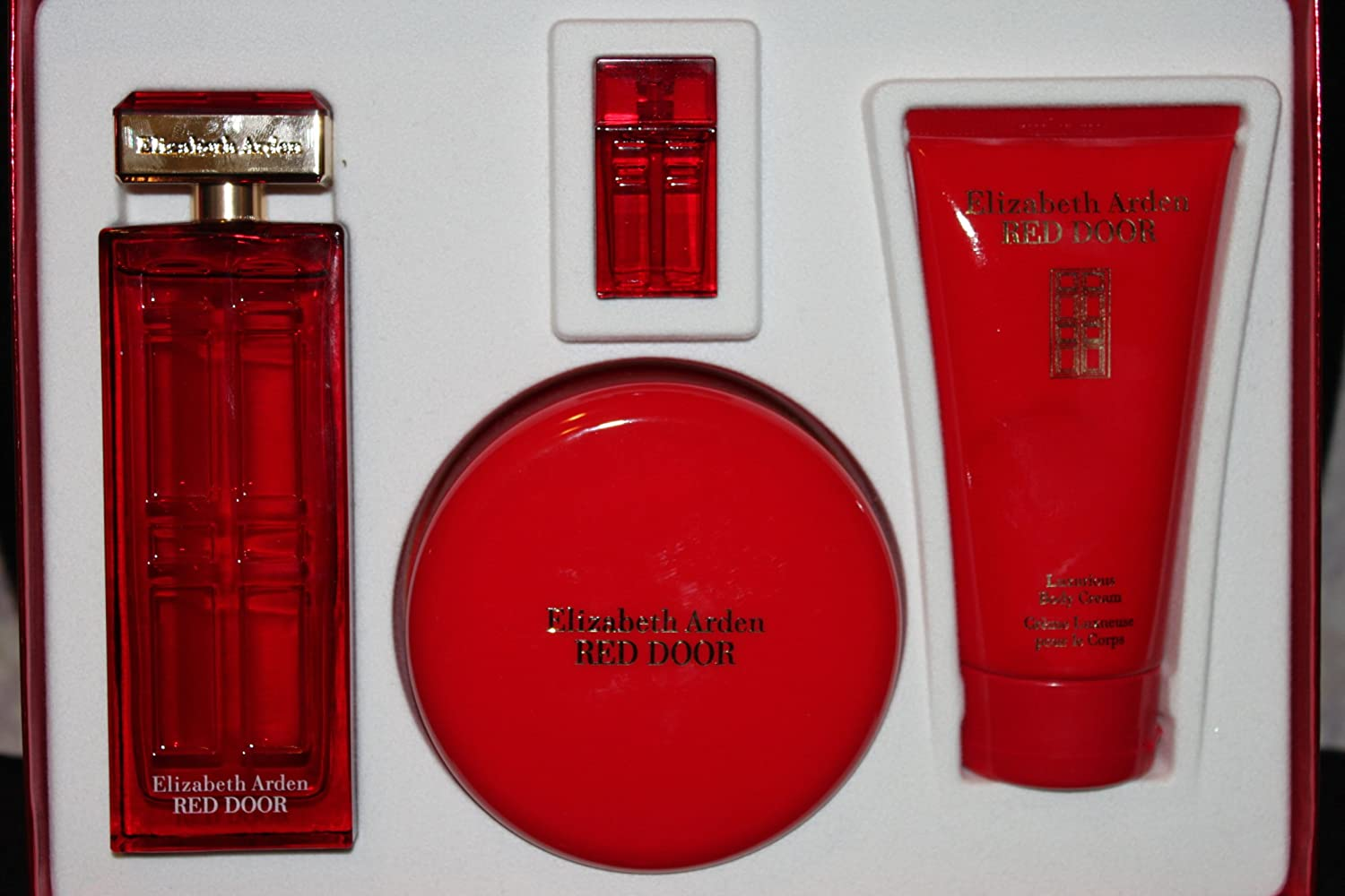 Elizabeth Arden Red Door 4 pc gift set (100ml edt spray+perfumed body powder 75g+edp 5ml+body cream 150ml)