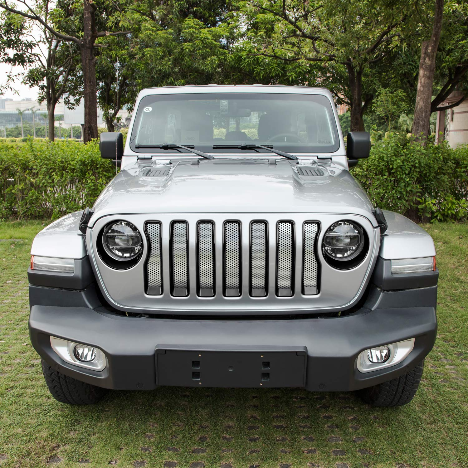 Sunluway Front Grille Trim Inserts Grill Cover Headlight Turn Light Cover Trim /& Door Hinge Cover 17 Pcs Black Protection Accessories for 2018 2019 Jeep Wrangler JL JLU Sport//Sports