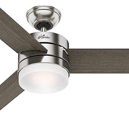 Hunter 54 contemporary ceiling fan with remote control in brushed hunter 54quot contemporary ceiling fan with remote control in brushed nickel certified refurbished aloadofball Image collections