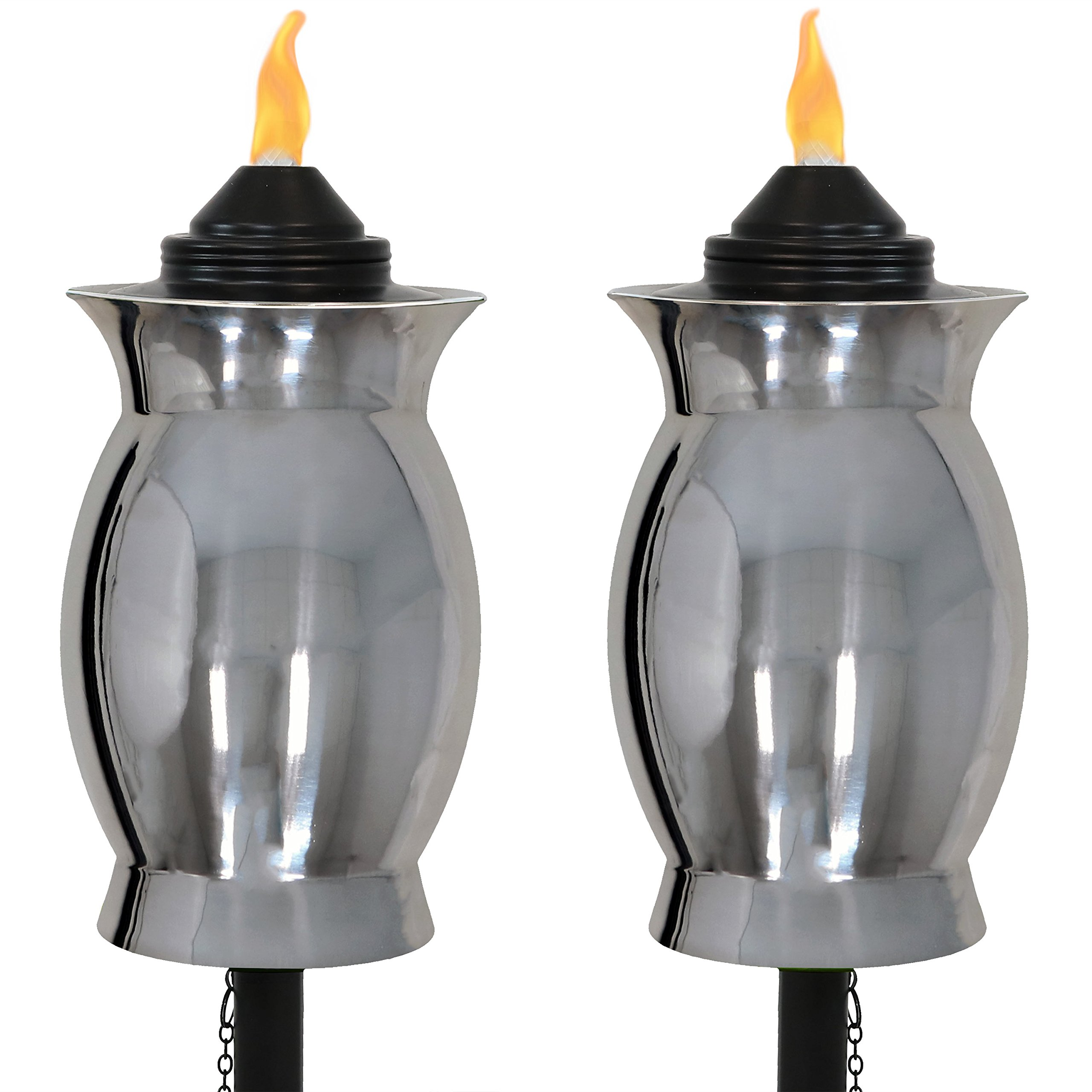 Sunnydaze Stainless Steel Outdoor Torches with Black Snuffer, Metal Patio Citronella Torch, 23- to 65-Inch Adjustable Height, 3-in-1, Set of 2