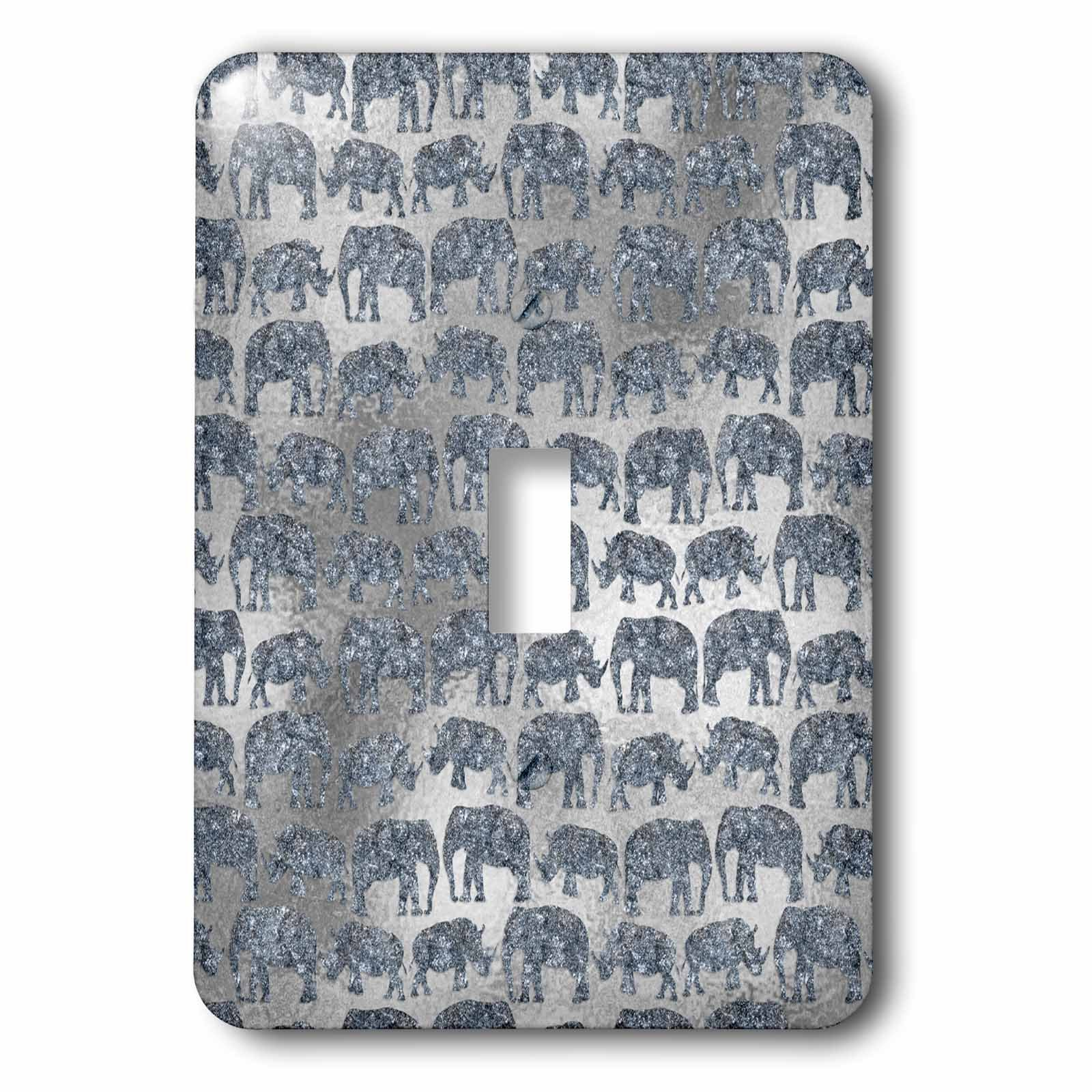 3dRose (lsp_269042_1) Single Toggle Switch (1) Luxury Silver Shiny Chic Animal Elephant Africa Safari Pattern