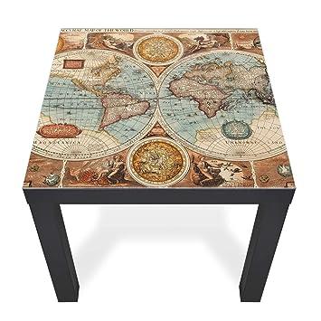 Banjado Glasplatte Für IKEA Lack Tisch 55x55cm | Abdeckplatte Aus  Sicherheitsglas | Motiv Historische Weltkarte |