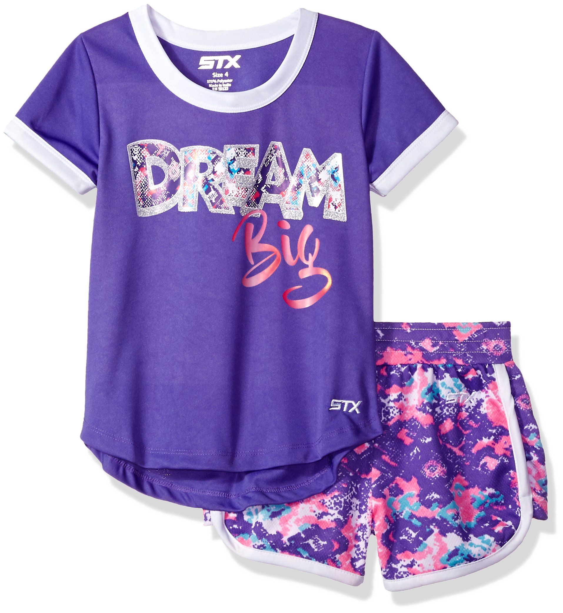 STX Toddler Girls' T-Shirt and Short Set (More Styles Available), Bright Purple, 2T