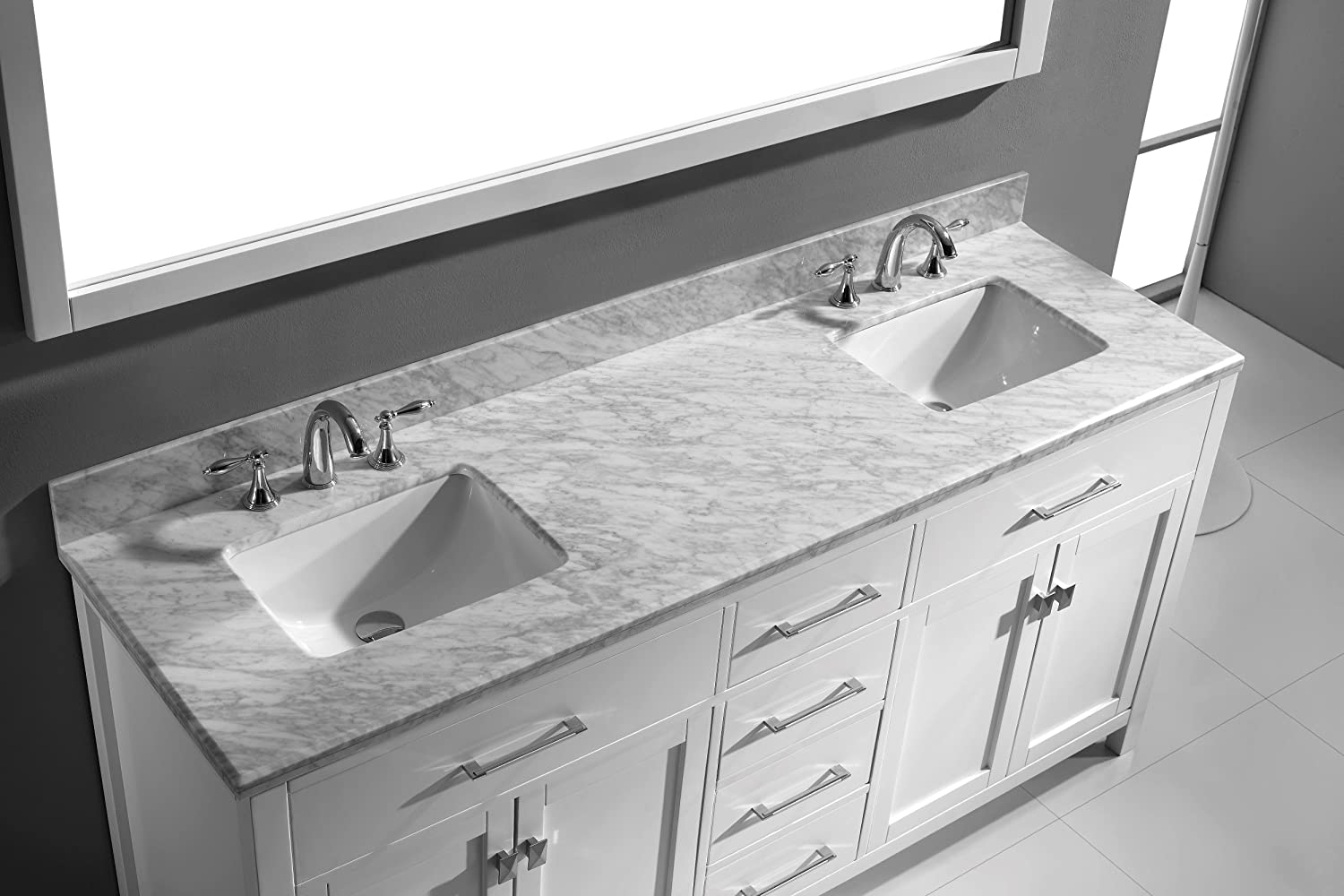 Virtu USA MD 2072 WMSQ WH Caroline 72 Inch Bathroom Vanity with Double  Square Sinks in White and Italian Carrera Marble With