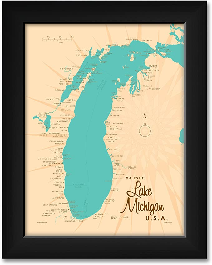 Real gold foil print of Michigan MI USA wall art decor framed poster personalized artwork map gifts for couples Ann Arbor city map print
