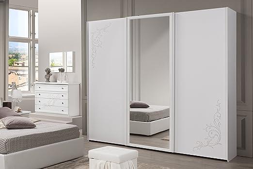 Nuovarredo COD.Sara 00773321 – Armario 3 Puertas correderas con Espejo Central Fresno Blanco: Amazon.es: Hogar