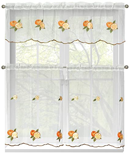Window Elements Embroidered 3 Piece Kitchen Tier And Valance 60 X 54