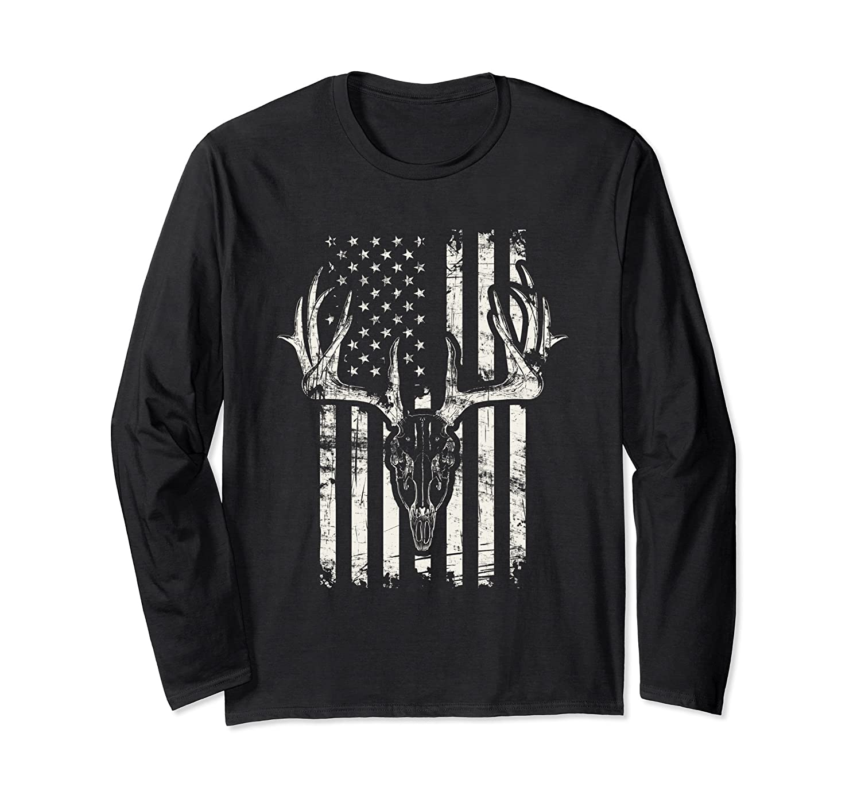 American Flag Hunting Deer Skull Hunter Long Sleeve T-Shirt-mt