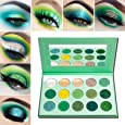Green Eyeshadow Palette Matte Glitter,Afflano Highly Pigmented Pro Makeup Palettes Eye shadow forest emerald green Yellow 15 Color,Creme Shimmer Metallic Sparkle Eyeshadow Pallet for Women Christmas