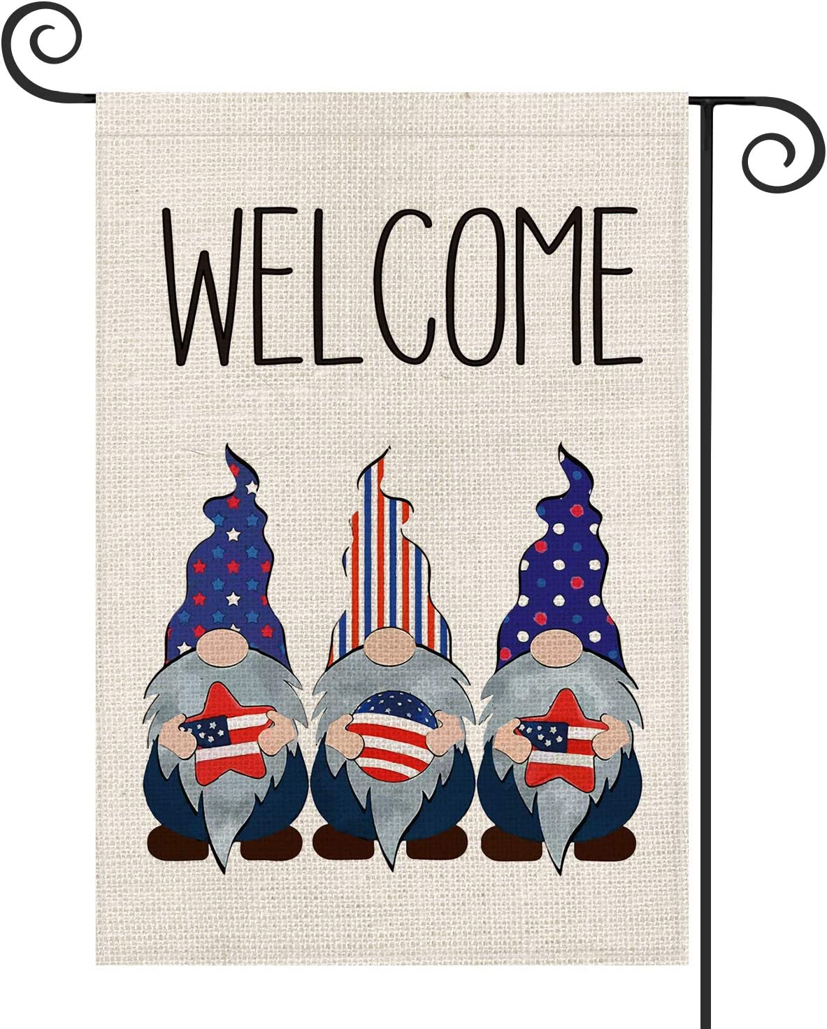 AVOIN Welcome Strip and Star American Flag Gnomes Garden Flag Double Sided, 4th of July Patriotic Memorial Day Independence Day Yard Outdoor Decoration 12.5 x 18 Inch