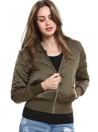 9d7a37b17a6 Escalier Womens Quilted Jacket Classic Short Bomber Jackets Padded Coat