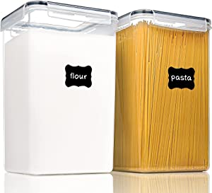 Large Food Storage Containers with Lids Airtight 6.5L /219.79fl oz, for Flour, Sugar, Baking Supply and Dry Food Storage, PantryStar 2PCS BPA Free Plastic Canisters for Kitchen Pantry Organization