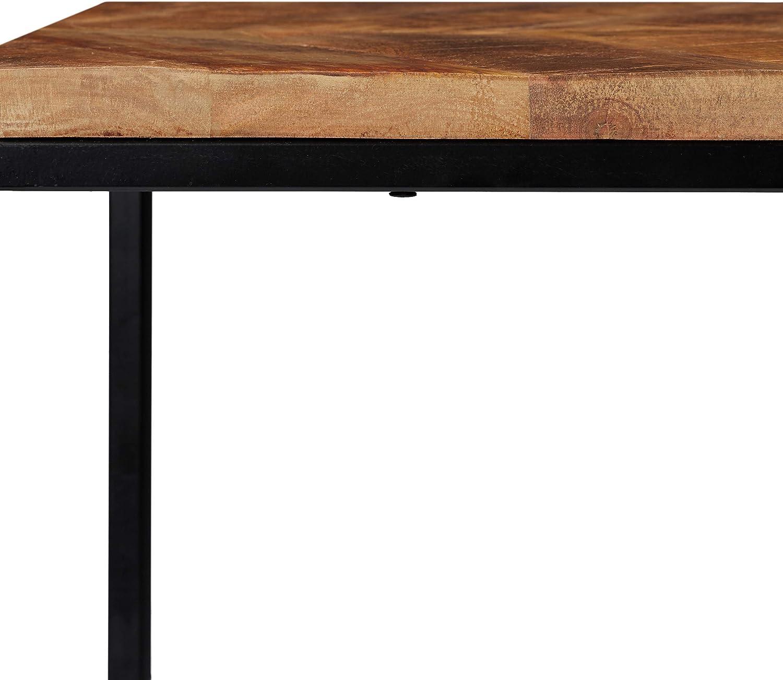Relaxdays Couchtisch 2er Set Natur//schwarz rechteckig Eisen Gestell H x B x T: 50 x 77 x 43,5 cm Mangoholz Platte
