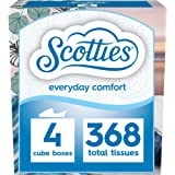 Scotties Everyday Comfort Facial Tissues, 92 Tissues per Box, 4 Pack, 92 Count (Pack of 4)