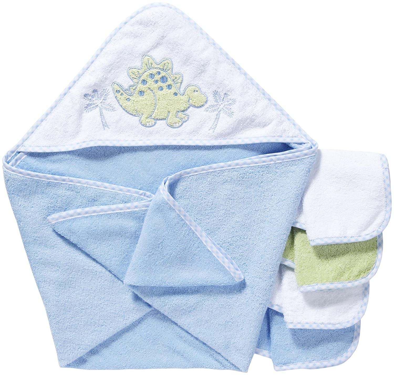 Spasilk 100% Baumwolle Kapuzen-Frottee-Badetuch mit 4 Waschlappen-Dinosaurier blau - grün