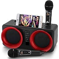 Karaoke-machine, draagbaar Bluetooth PA-systeem met 2 draadloze microfoon, luidspreker met mobiele telefoonhouder/USB/TF…
