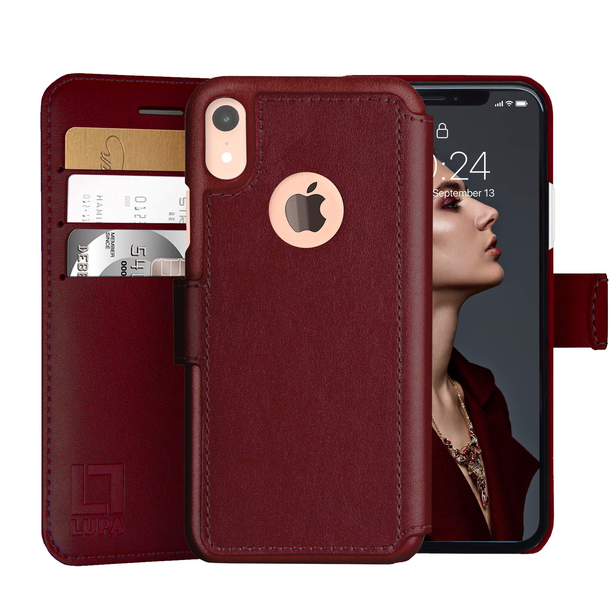 LUPA iPhone XR Wallet case, Durable and Slim, Lightweight with Classic Design & Ultra-Strong Magnetic Closure, Faux Leather, Burgundy, for Apple XR. by LUPA