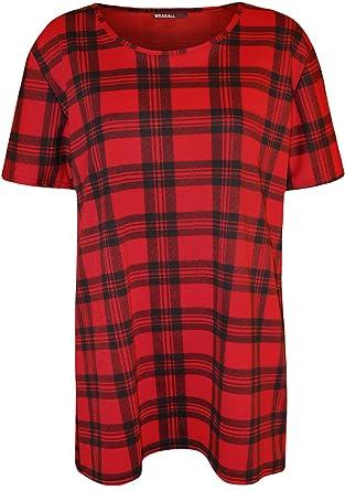 35ecb0de3f8 Plus Size Womens Tartan Check Print Short Sleeve Ladies T-Shirt Top - Red  Black