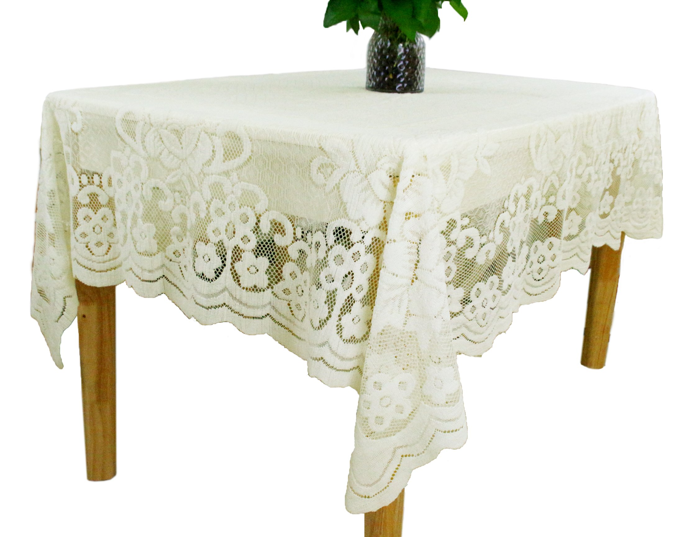 GEFEII Kitchen Tablecloths For Rectangle Tables White Lace Linen Tablecloth Oblong Size 60'' X 104'' For Party Banquet Dining Wedding Decorations