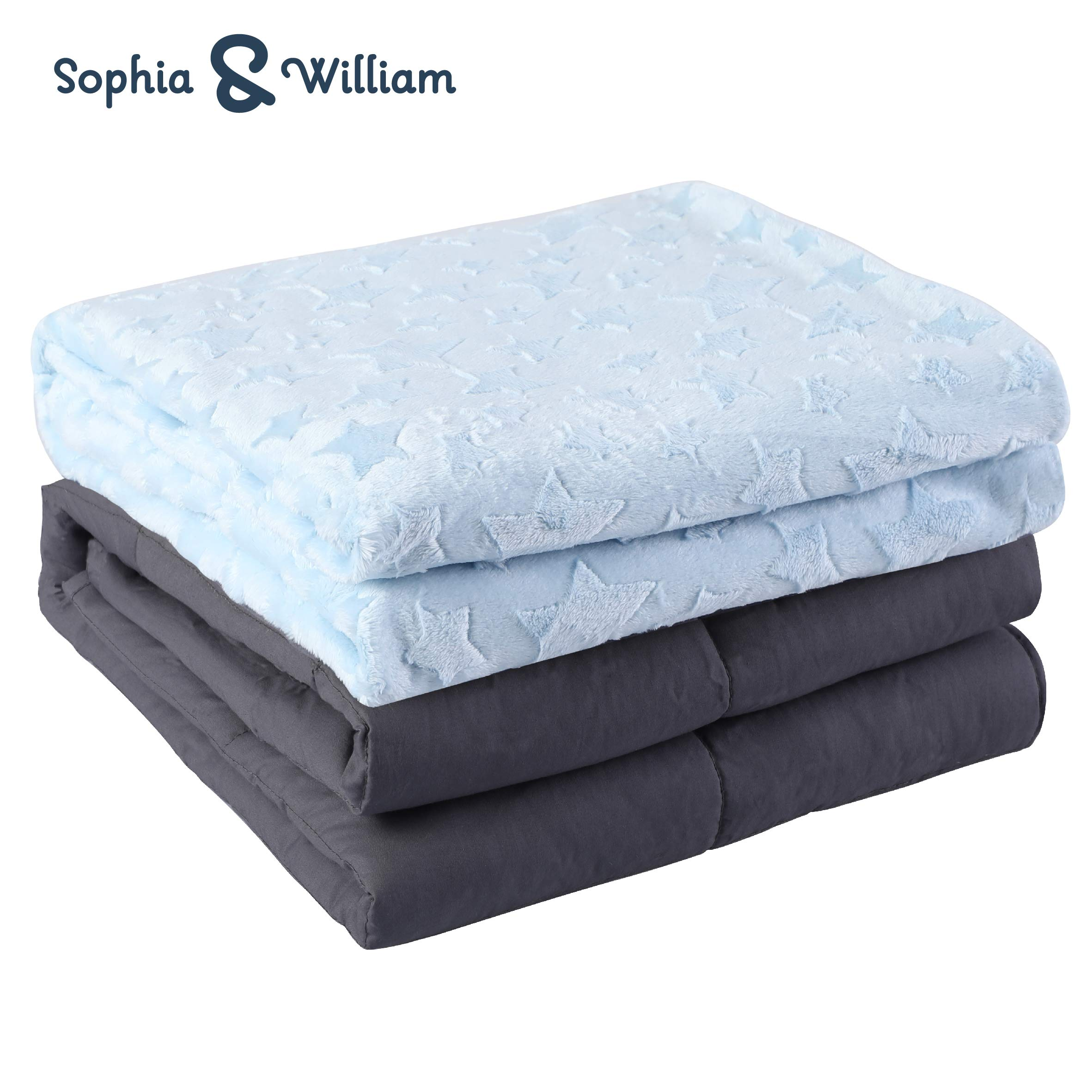 Sophia&William Weighted Blanket, 36''x48'', 5 lbs, Cotton, Light Blue, Reversible Cover Included