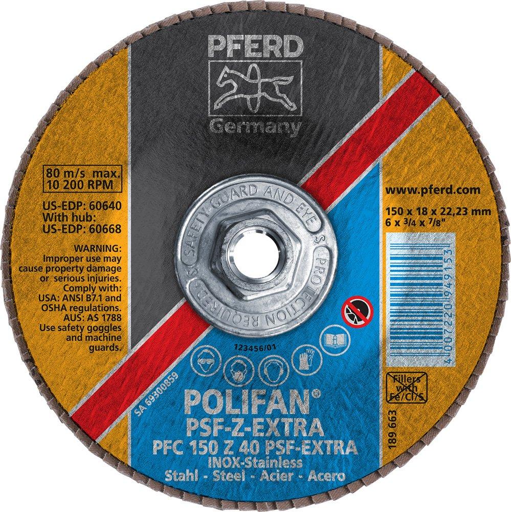 5//8-11 Thread 6 Diameter 40 Grit 6 Diameter PFERD Inc. PFERD 60668 Polifan PSF Z-Extra Type 29 Conical Flap Disc Zirconia Alumina 10200 RPM