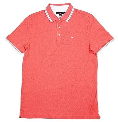 Michael Kors Mens Monogram Short Sleeves Polo Shirt Pink S: Amazon ...