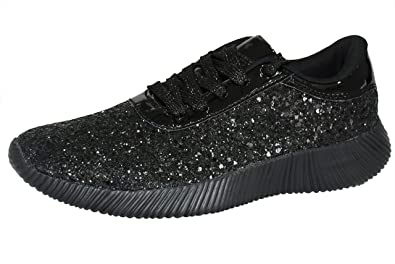 b349c2aeb4a7 ROXY ROSE Womens Lace Up Glitter Shoes Fashion Metallic Sequins Light  Weight Sneaker (6 B